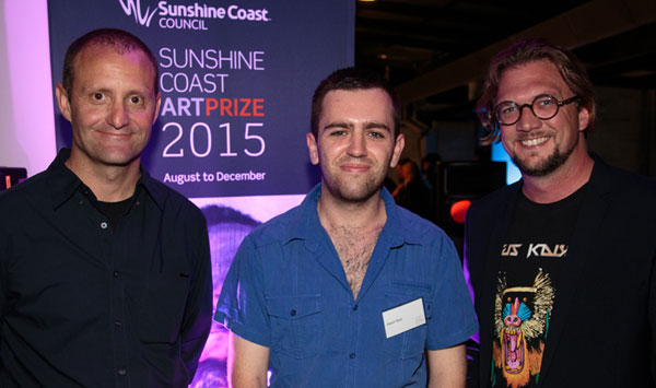 Pictured left to right co-judge Matthew Perkins, 2015 Sunshine Coast Art Prize 2015 New Media Award Public Art Mentorship Winner Aaron Butt with Maroochy Music & Visual Arts Festival Director James Birrell.