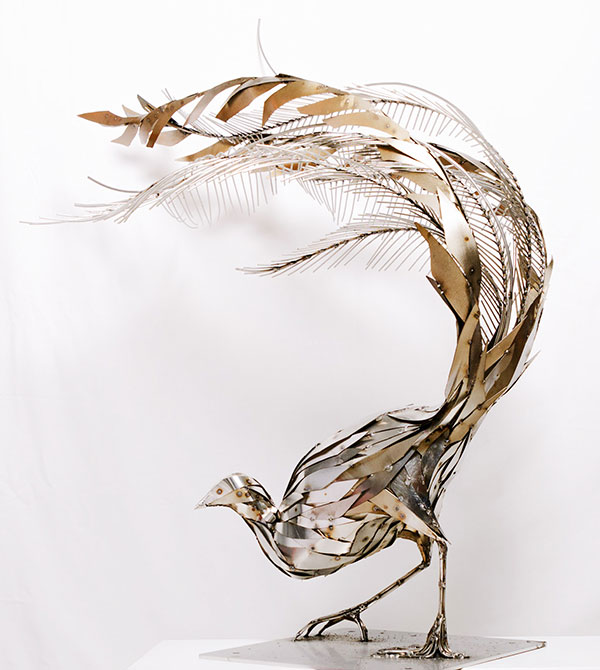 Lyrebird sculptures- stainless steel sculptures created for Mistere Spa Forest Retreat NSW